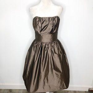 Dessy Collection Brown Taffeta Strapless Dress 10